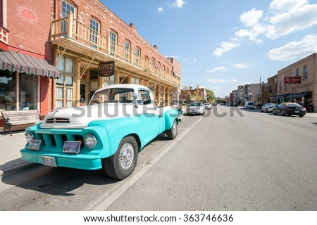 HANNIBAL, USA - SEPTEMBER 4; Restored retro Studebaker truck parked outside Planters Restaurant on September 4, 2015 in Main Street Hannibal Missouri USA. Historic hometown of Mark Twain.