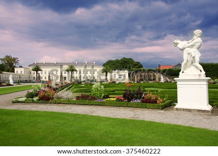 HANNOVER, GERMANY - 30 JULY: It's ranks the most important gardens in Europe. The Large Gardens in Herrenhausen gardens in Hanover, German on July 30,2014. - stock photo