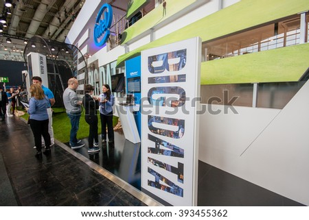 HANNOVER, GERMANY - MARCH 14, 2016: Big Data stand in booth of Intel Corporation at CeBIT information technology trade show in Hannover, Germany on March 14, 2016. - stock photo