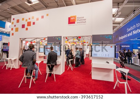 HANNOVER, GERMANY - MARCH 14, 2016: Booth of Hasso Plattner Institut at CeBIT information technology trade show in Hannover, Germany on March 14, 2016. - stock photo