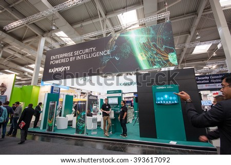 HANNOVER, GERMANY - MARCH 14, 2016: Booth of Kaspersky Lab company at CeBIT information technology trade show in Hannover, Germany on March 14, 2016. - stock photo