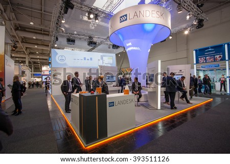 HANNOVER, GERMANY - MARCH 14, 2016: Booth of Landesk Software company at CeBIT information technology trade show in Hannover, Germany on March 14, 2016. - stock photo