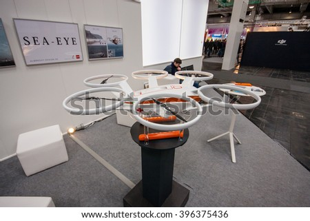 HANNOVER, GERMANY - MARCH 15, 2016: Drone displayed at CeBIT information technology trade show in Hannover, Germany on March 15, 2016. - stock photo