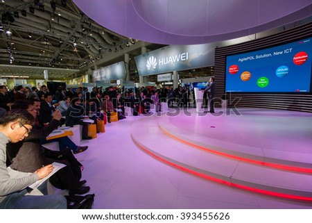 HANNOVER, GERMANY - MARCH 14, 2016: Presentation of Huawei product line president Jeff Wang in booth Huawei company at CeBIT information technology trade show in Hannover, Germany on March 14, 2016  - stock photo
