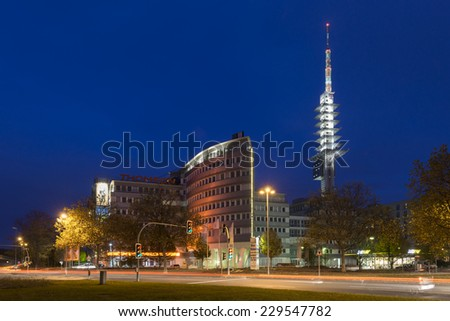HANNOVER, GERMANY - NOVEMBER  09, 2014: The intersection Weidetor in Hanover at evening.