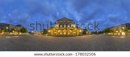 HANNOVER, GERMANY - OCTOBER 07, 2008: Hannover is the capital of the federal state of Lower Saxony. 360 degree panorama view at evening.