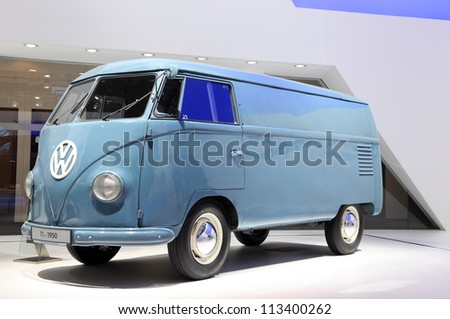 HANNOVER - SEP 20: Volkswagen T1 Van from 1950  at the International Motor Show for Commercial Vehicles on September 20, 2012 in Hannover Germany - stock photo