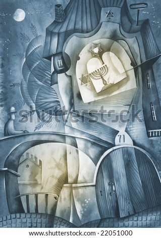 Hannukah card with candles. Illustration by Eugene Ivanov. - stock photo