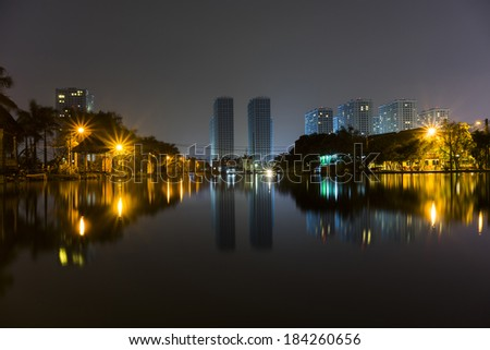 Hanoi city skyline by night - stock photo