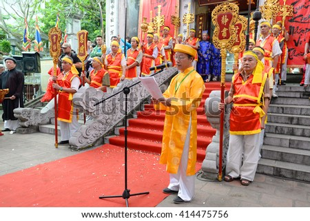 Hanoi, Vietnam Apr 22, 2016:Unique traditional festival Kim Lien Temple with religious rituals of Buddhism. It's temple ancient-one of the four temple defending Thang Long citadel since 15th century.