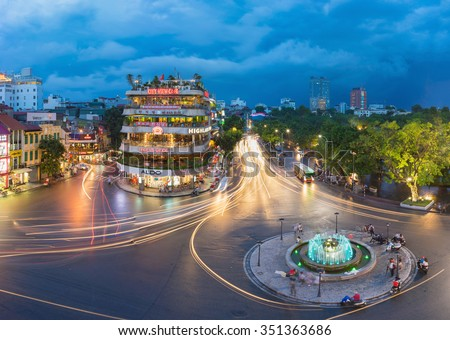 Hanoi, Vietnam - Aug 28, 2015: Aerial view of Hanoi cityscape at twilight at intersection locating next to Hoan Kiem lake, center of Hanoi.