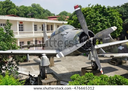 HANOI, VIETNAM -10 AUG 2016- The Vietnam Military History Museum celebrates Vietnamese victories over France and the United States. It displays a collection of weapons, aircrafts, and old documents.