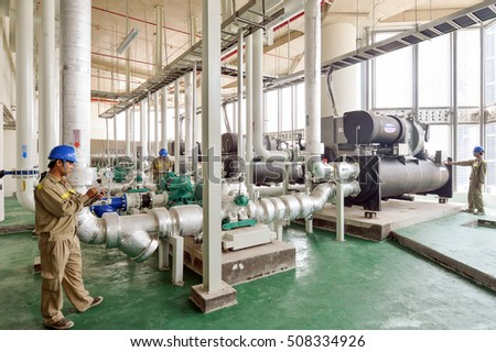 Stock Photo Hanoi Vietnam August Hot Water Pump And Pipe Line For Make High Temperature Condition In on Refrigeration System Piping Diagram