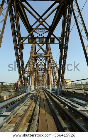 Hanoi, Vietnam, Dec 14, 2015: Architectural details of Long Bien Bridge is a historic cantilever bridge across the Red River that connects two districts, Hoan Kiem and Long Bien of the city of Hanoi.