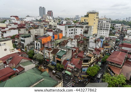 Hanoi, Vietnam - Jan 5, 2016: Aerial view of Hanoi skyline cityscape in fog day.(old quarter)