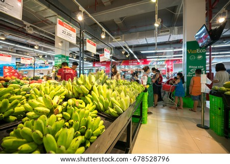 Hanoi, Vietnam - July 10, 2017: Fresh bananas on shelf in Vinmart supermarket, Minh Khai street.