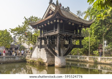 HANOI, VIETNAM - JUNE 26, 2016: Ancient medieval Buddhist temple 'One Pillar Pagoda' in the historic center of Hanoi