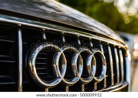 Hanoi, Vietnam - June 17, 2016: Closed up Audi car Logo on the front of Q7 Audi car on a sun day in Hanoi.