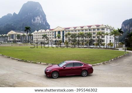 Hanoi, Vietnam - Mar 22, 2016: Lexus GS 350 (model 2016) car is on the test road in Vietnam. - stock photo
