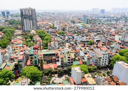HANOI VIETNAM - MAY 20: Capital Hanoi cityscape at afternoon in Hanoi, Vietnam on May 20, 2015.