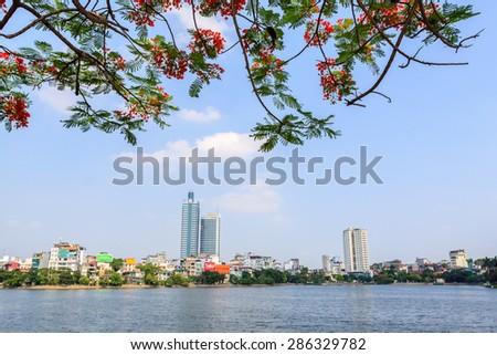 Hanoi, Vietnam - May 20 : Hanoi cityscape at afternoon at West Lake in Hanoi, Vietnam on May 20, 2015 - stock photo