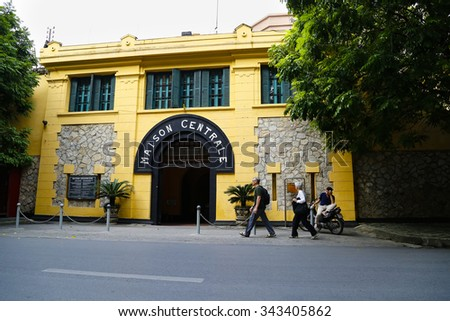 HANOI, VIETNAM - Nov 22, 2015: Unidentified Foreign tourists visit Hoa Lo Prison in Hanoi, Vietnam. The Hoa Lo Prison was a prison used by the French colonists in Vietnam for political prisoners.