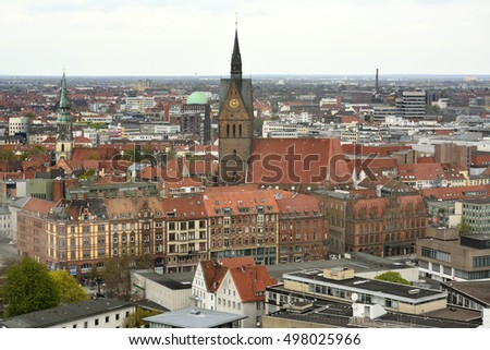 HANOVER, GERMANY - APRIL 18, 2016. View over Hanover toward Marktkirche, with commercial and residential buildings.