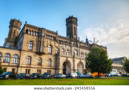 HANOVER - OCTOBER 6: The University of Hannover building on October 6, 2014 in Hanover, Germany. It's one of the largest and oldest science and technology universities in Germany. - stock photo