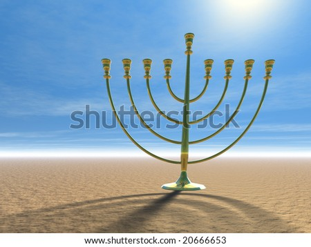 Hanukkah celebration. Jewish tradition. 3D illustration. - stock photo
