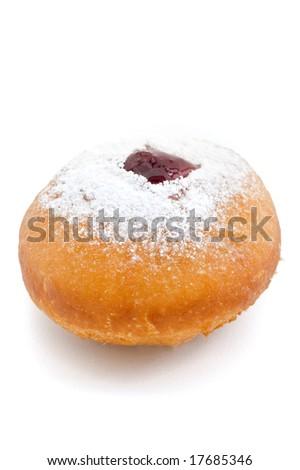 Hanukkah doughnut with jam and caster sugar - stock photo