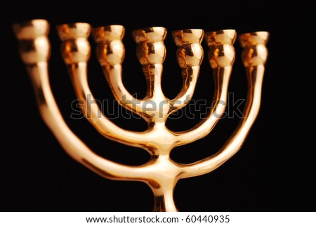 Hanukkah menorah on black background - stock photo