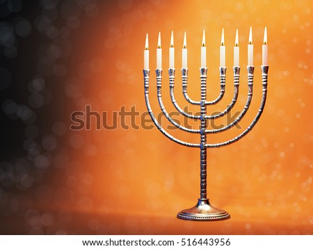 Hanukkah menorah with burning candles on defocused glitter background. Traditional jewish holiday celebration greeting card concept. 3D illustration
