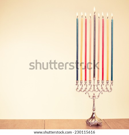 Hanukkah menorah with candles for holiday greeting card background - stock photo