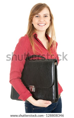 happ young businesswoman with black briefcase, white background