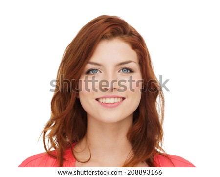 happiness and people concept - smiling teenage girl in casual clothes - stock photo