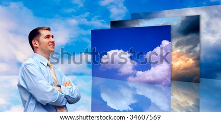 Happiness business men on blue sky background - stock photo