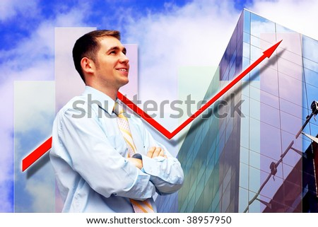 Happiness businessman on business architecture background - stock photo
