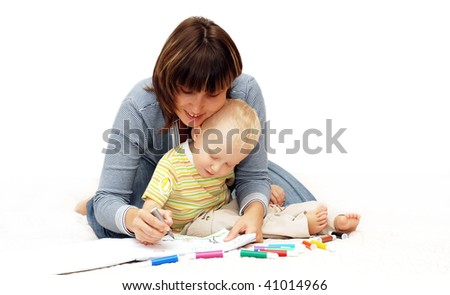 Happiness child with mother paint