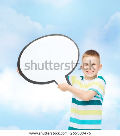 happiness, childhood, conversation and people concept - smiling little boy with blank text bubble over cloudy sky - stock photo