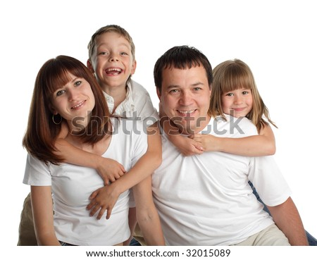 Happiness family on the white background - stock photo