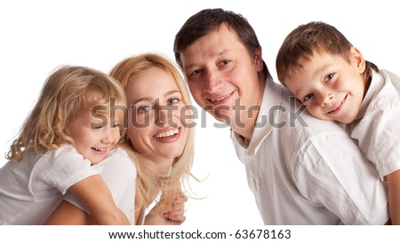 Happiness family with two children isolated on white