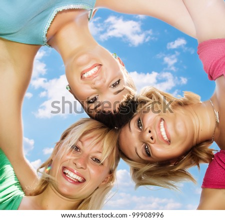 Happiness friends fun outdoors. - stock photo