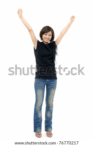 Happiness - isolated girl in blue jeans - stock photo
