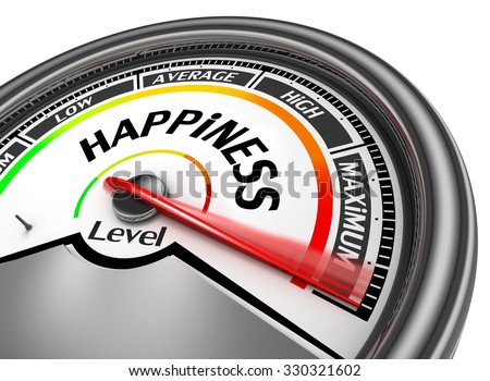 Happiness level conceptual meter indicate maximum, isolated on white background