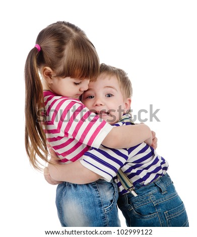 Happy adorable kids hugging each other. isolated on white background