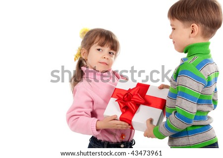 Happy adorable siblings kids with gift box over white