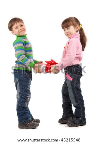 Happy adorable siblings kids with gift box over white - stock photo