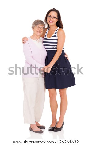 happy adult daughter and senior mother isolated on white - stock photo