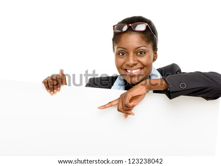 Happy African American business woman showing empty copey space isolated on white background
