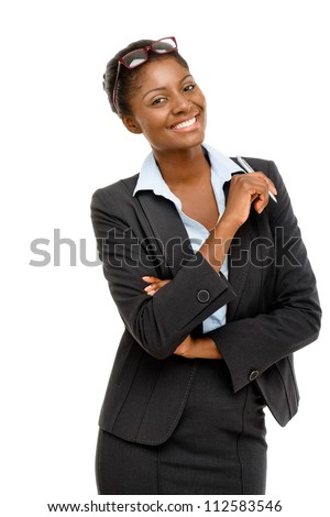 Happy African American businesswoman holding pen isolated on white background